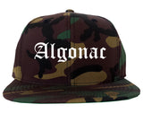 Algonac Michigan MI Old English Mens Snapback Hat Army Camo