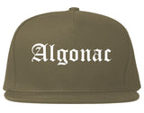 Algonac Michigan MI Old English Mens Snapback Hat Grey