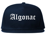Algonac Michigan MI Old English Mens Snapback Hat Navy Blue