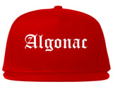 Algonac Michigan MI Old English Mens Snapback Hat Red