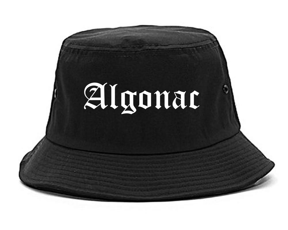 Algonac Michigan MI Old English Mens Bucket Hat Black