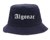 Algonac Michigan MI Old English Mens Bucket Hat Navy Blue