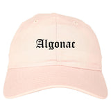 Algonac Michigan MI Old English Mens Dad Hat Baseball Cap Pink