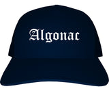 Algonac Michigan MI Old English Mens Trucker Hat Cap Navy Blue