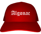 Algonac Michigan MI Old English Mens Trucker Hat Cap Red