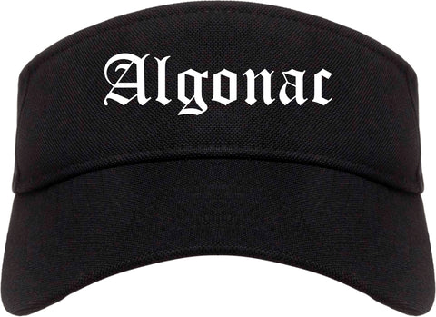 Algonac Michigan MI Old English Mens Visor Cap Hat Black