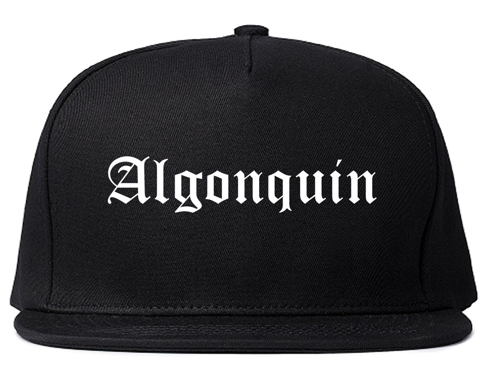 Algonquin Illinois IL Old English Mens Snapback Hat Black