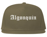 Algonquin Illinois IL Old English Mens Snapback Hat Grey