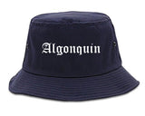 Algonquin Illinois IL Old English Mens Bucket Hat Navy Blue