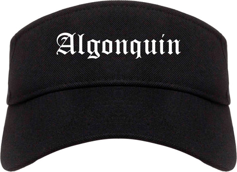 Algonquin Illinois IL Old English Mens Visor Cap Hat Black
