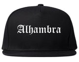 Alhambra California CA Old English Mens Snapback Hat Black