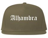 Alhambra California CA Old English Mens Snapback Hat Grey
