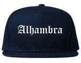 Alhambra California CA Old English Mens Snapback Hat Navy Blue
