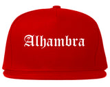 Alhambra California CA Old English Mens Snapback Hat Red