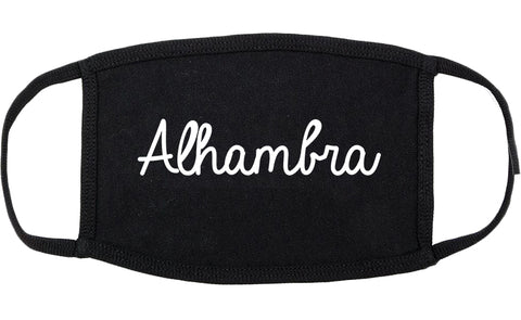 Alhambra California CA Script Cotton Face Mask Black