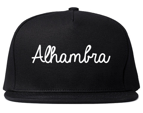 Alhambra California CA Script Mens Snapback Hat Black