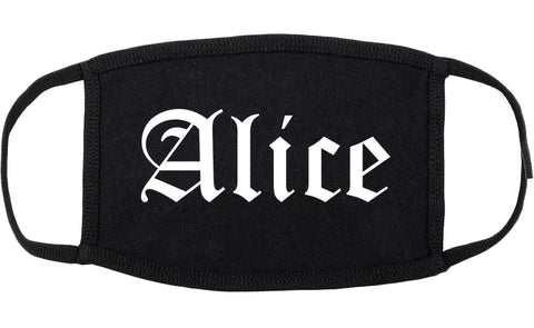 Alice Texas TX Old English Cotton Face Mask Black