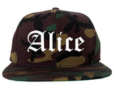 Alice Texas TX Old English Mens Snapback Hat Army Camo