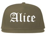 Alice Texas TX Old English Mens Snapback Hat Grey