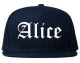 Alice Texas TX Old English Mens Snapback Hat Navy Blue