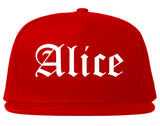 Alice Texas TX Old English Mens Snapback Hat Red