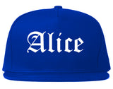 Alice Texas TX Old English Mens Snapback Hat Royal Blue
