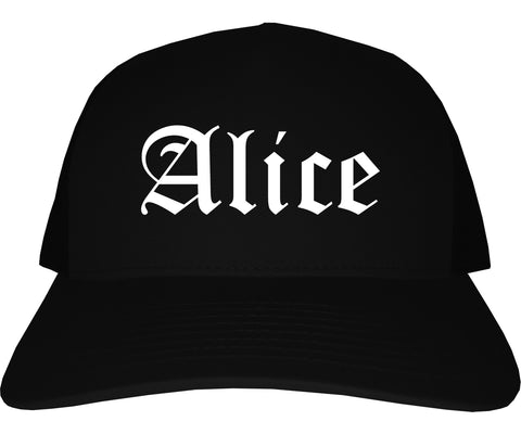 Alice Texas TX Old English Mens Trucker Hat Cap Black