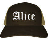 Alice Texas TX Old English Mens Trucker Hat Cap Brown