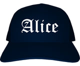 Alice Texas TX Old English Mens Trucker Hat Cap Navy Blue