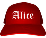 Alice Texas TX Old English Mens Trucker Hat Cap Red