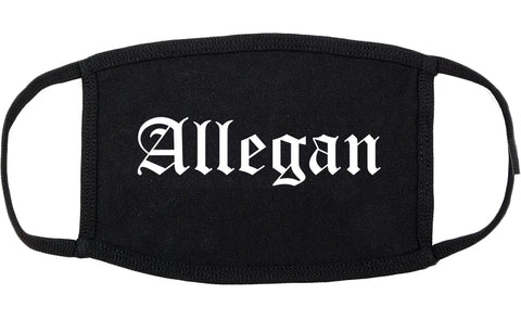 Allegan Michigan MI Old English Cotton Face Mask Black
