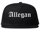 Allegan Michigan MI Old English Mens Snapback Hat Black