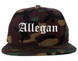 Allegan Michigan MI Old English Mens Snapback Hat Army Camo