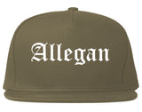 Allegan Michigan MI Old English Mens Snapback Hat Grey