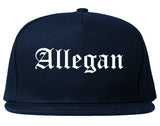 Allegan Michigan MI Old English Mens Snapback Hat Navy Blue