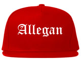 Allegan Michigan MI Old English Mens Snapback Hat Red