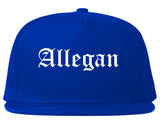Allegan Michigan MI Old English Mens Snapback Hat Royal Blue