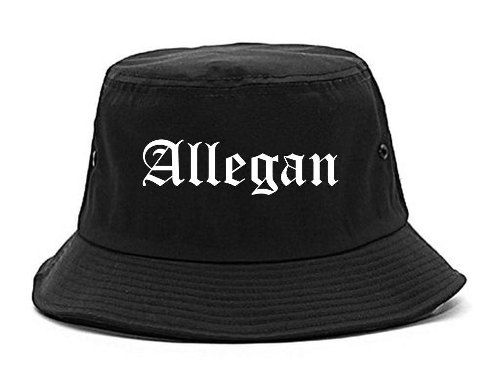 Allegan Michigan MI Old English Mens Bucket Hat Black