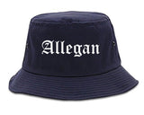 Allegan Michigan MI Old English Mens Bucket Hat Navy Blue