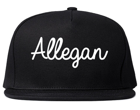 Allegan Michigan MI Script Mens Snapback Hat Black