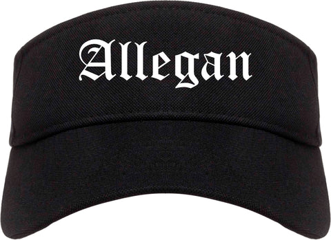 Allegan Michigan MI Old English Mens Visor Cap Hat Black
