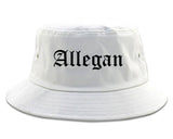 Allegan Michigan MI Old English Mens Bucket Hat White