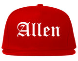 Allen Texas TX Old English Mens Snapback Hat Red