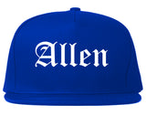 Allen Texas TX Old English Mens Snapback Hat Royal Blue