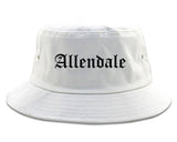 Allendale New Jersey NJ Old English Mens Bucket Hat White
