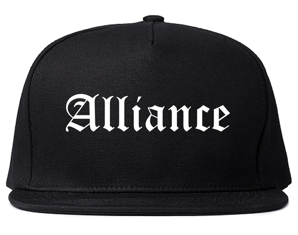 Alliance Nebraska NE Old English Mens Snapback Hat Black
