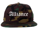 Alliance Nebraska NE Old English Mens Snapback Hat Army Camo
