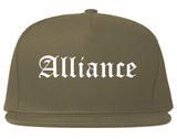 Alliance Nebraska NE Old English Mens Snapback Hat Grey