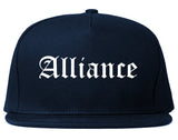 Alliance Nebraska NE Old English Mens Snapback Hat Navy Blue