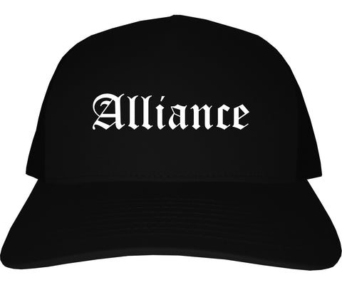 Alliance Nebraska NE Old English Mens Trucker Hat Cap Black